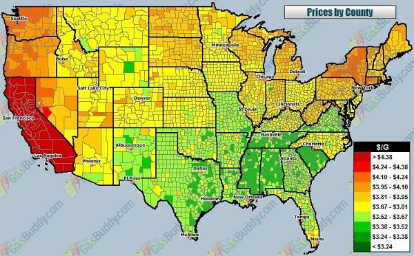 Gas Price: Us Gas Price Map